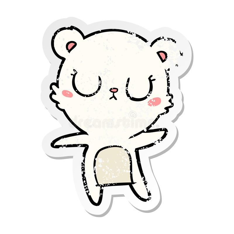 distressed sticker of a peaceful cartoon polar bear stock illustration
