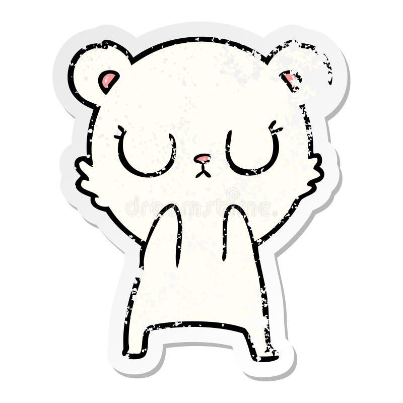 Distressed sticker of a peaceful cartoon polar bear. A creative illustrated distressed sticker of a peaceful cartoon polar bear royalty free illustration