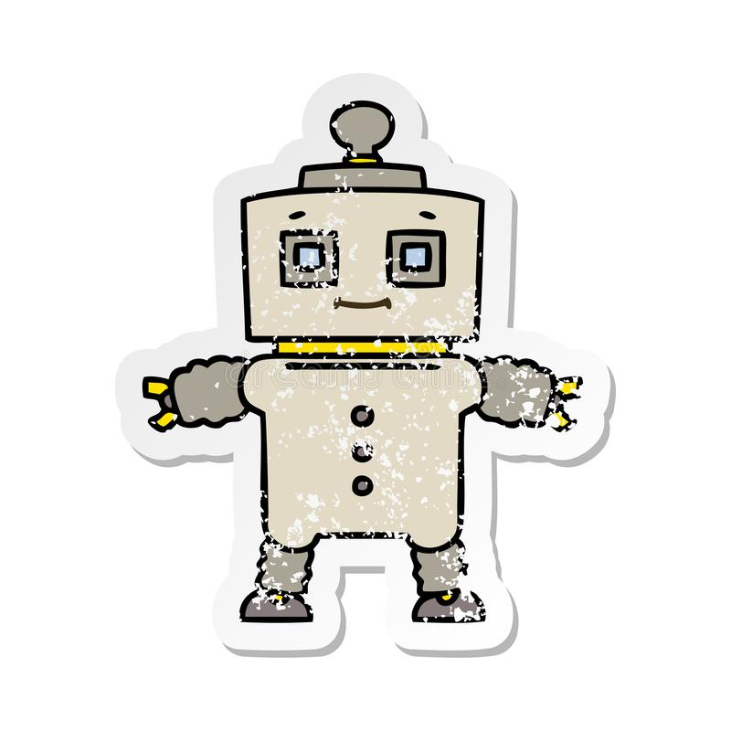 sticker of a quirky hand drawn cartoon robot vector illustration