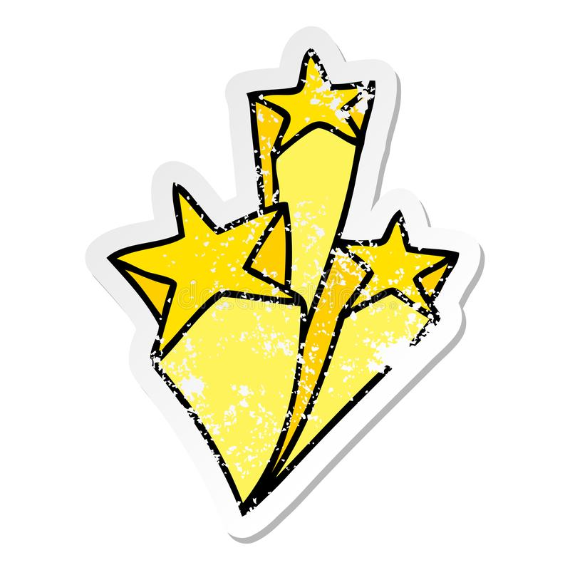 Distressed sticker of a quirky hand drawn cartoon stars. A creative distressed sticker of a quirky hand drawn cartoon stars stock illustration