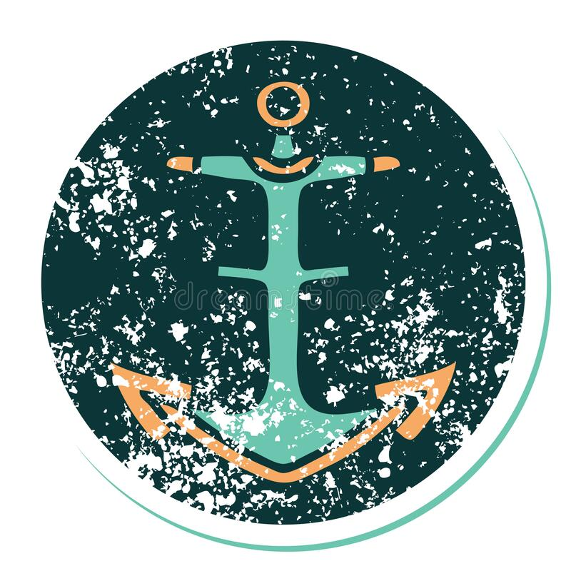 Distressed sticker tattoo style icon of an anchor. Iconic distressed sticker tattoo style image of an anchor stock photo