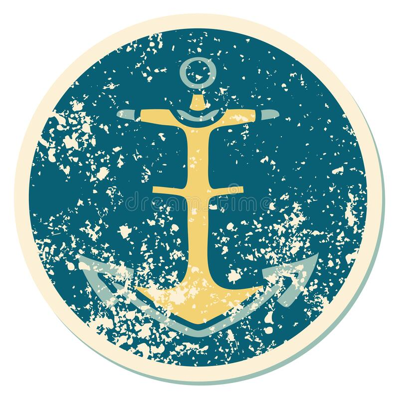 Distressed sticker tattoo style icon of an anchor. Iconic distressed sticker tattoo style image of an anchor stock illustration