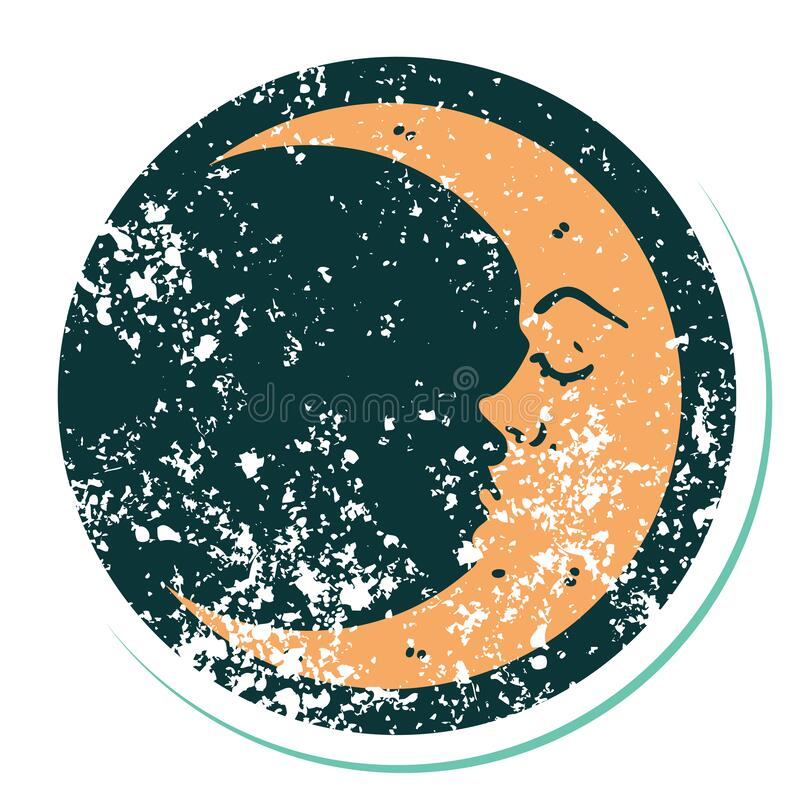 Distressed sticker tattoo style icon of a crescent moon. Iconic distressed sticker tattoo style image of a crescent moon vector illustration