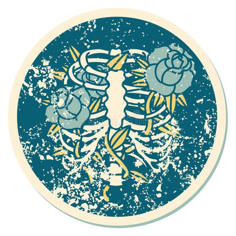 Distressed sticker tattoo style icon of a rib cage and flowers. Iconic distressed sticker tattoo style image of a rib cage and flowers stock illustration