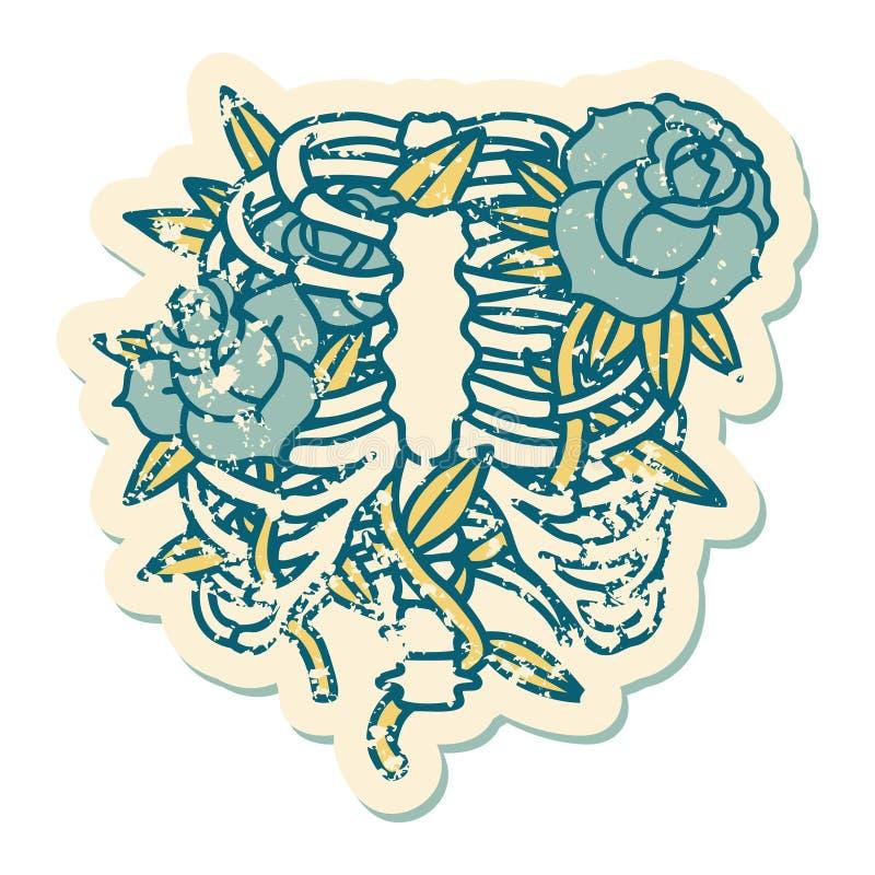 Distressed sticker tattoo style icon of a rib cage and flowers. Iconic distressed sticker tattoo style image of a rib cage and flowers royalty free illustration