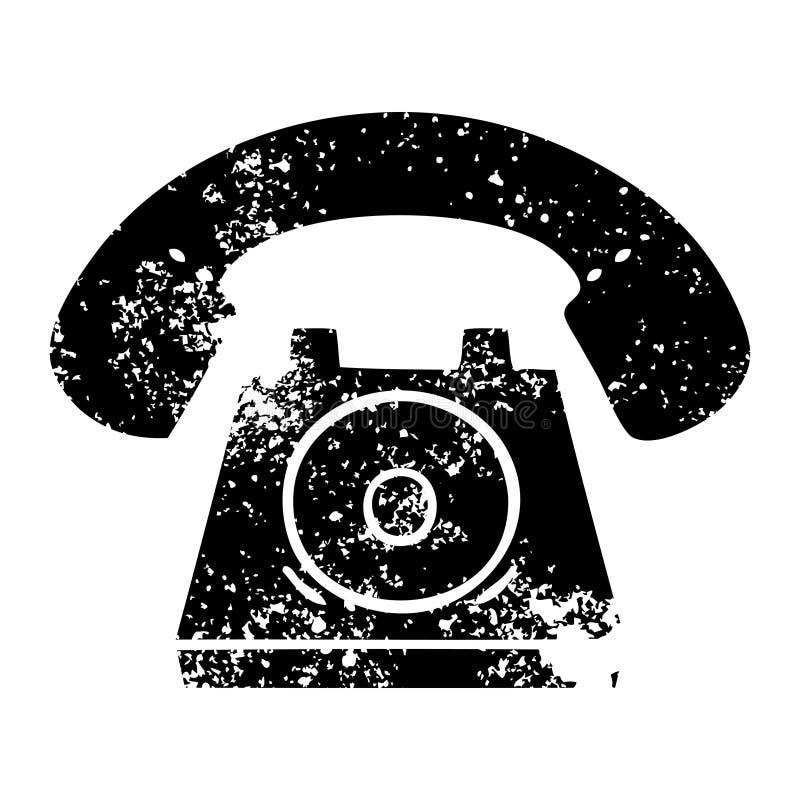Distressed symbol old telephone. A creative illustrated distressed symbol old telephone royalty free illustration