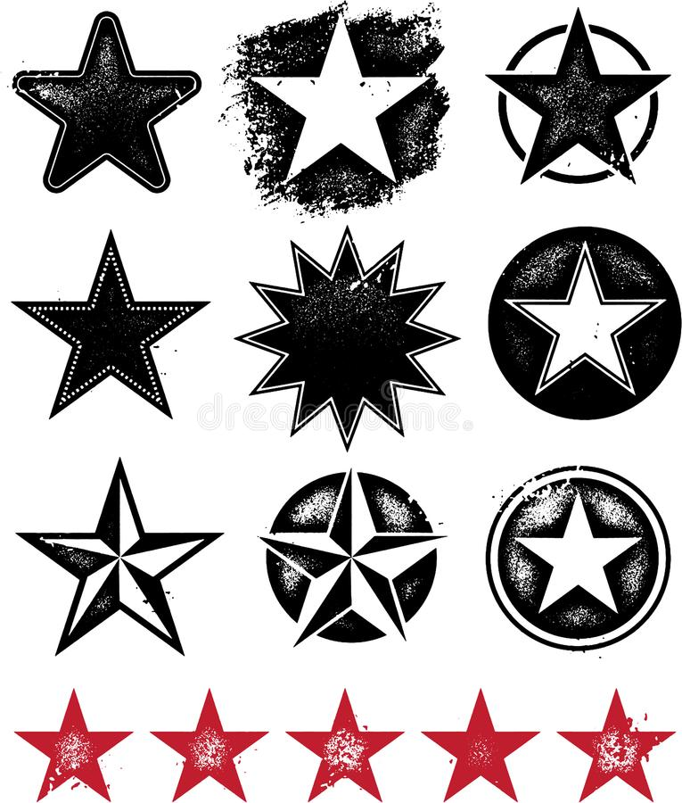 Distressed Vector Stars. A collection of stars in a grunge format vector illustration