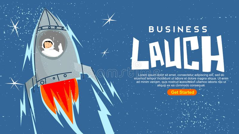 Distressed vintage rocket launch with smiling astronaut in deep blue sky and stars business launch standard web screen size 16:9 m. Vector art is created using stock illustration