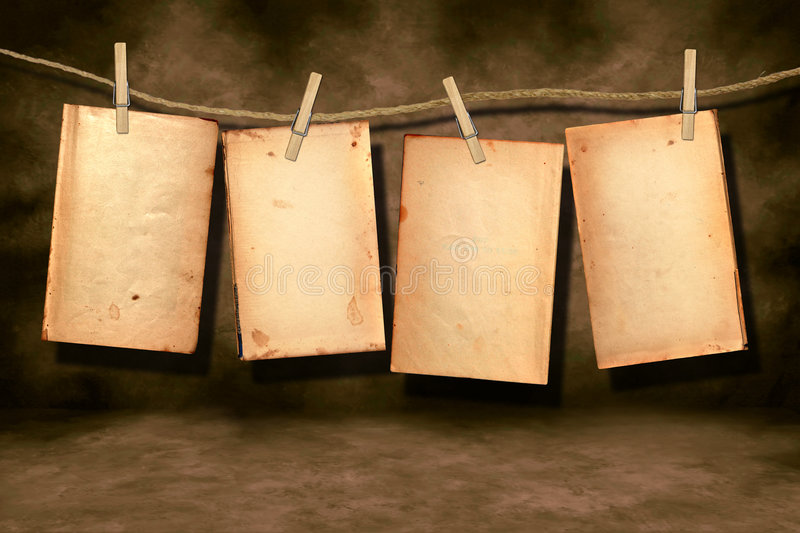 Distressed Worn Book Pages Hanging
