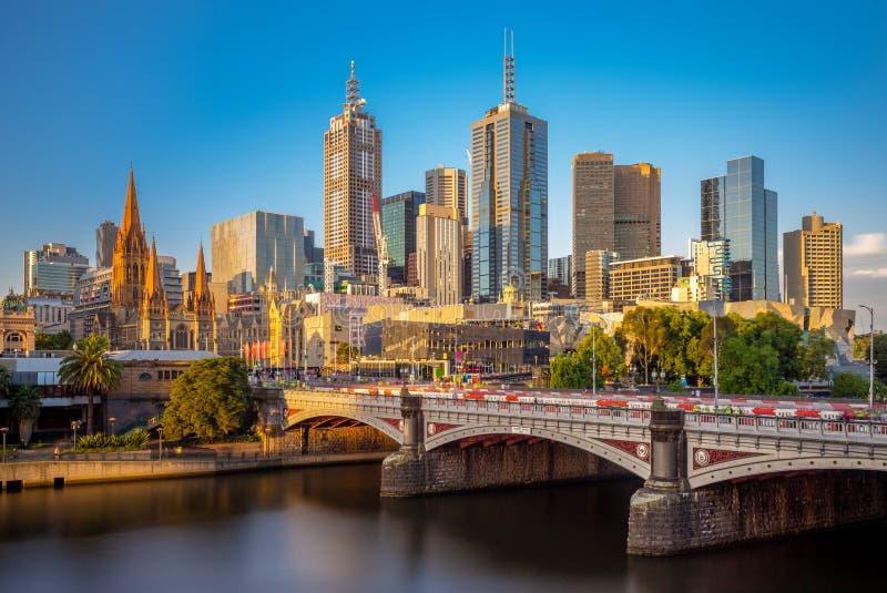 Distretto aziendale CBD, Australia della città di Melbourne immagine stock