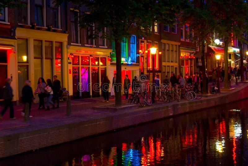 Distretto della luce rossa a Amsterdam immagine stock