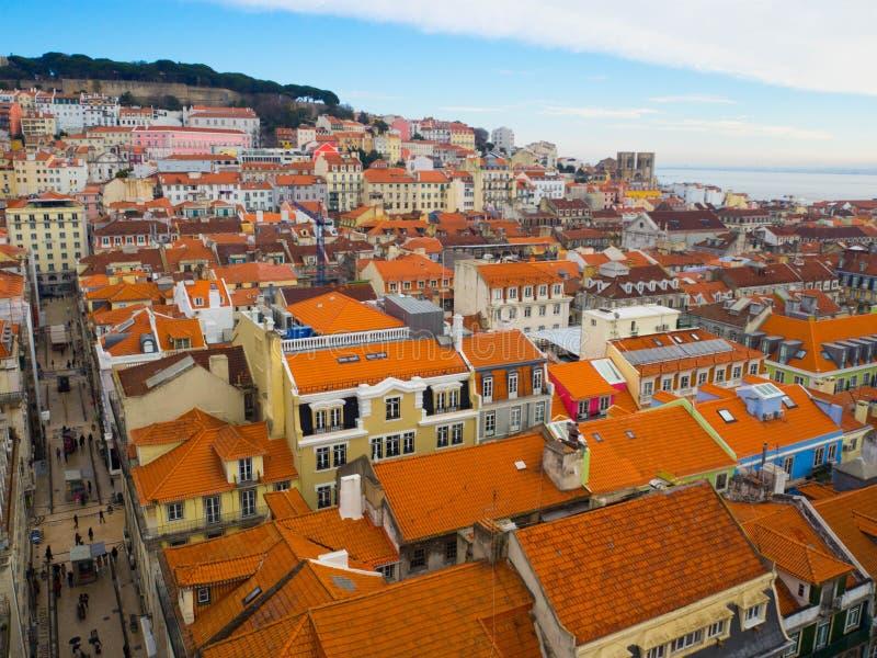 Distretto di Baixa, Lisbona, Portogallo fotografia stock libera da diritti