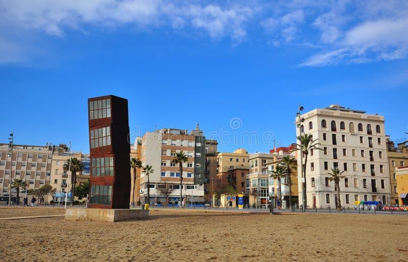Distretto di Barceloneta e la spiaggia della città di Barcellona fotografia stock