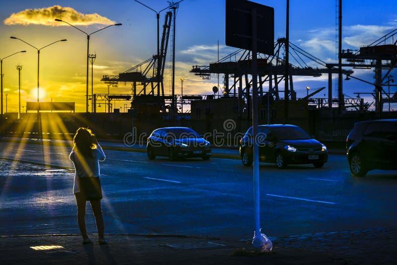 Distretto di Ciudad Vieja di scena di tramonto, Montevideo, Uruguay immagine stock
