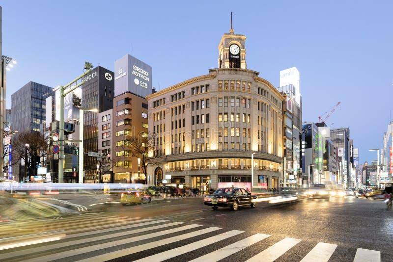 Distretto di Ginza, Tokyo - Giappone fotografia stock libera da diritti