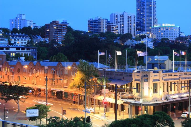 Distretto di Sydney alla notte immagini stock libere da diritti