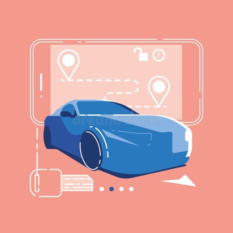 Distribución de coche app, servicio del coche compartido, app móvil, smartphone plano y coche isométrico libre illustration
