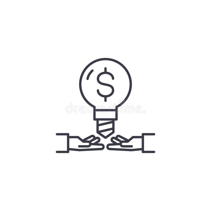 Distribución de concepto linear del icono de las ideas del negocio Compartiendo ideas del negocio alinee la muestra del vector, s ilustración del vector