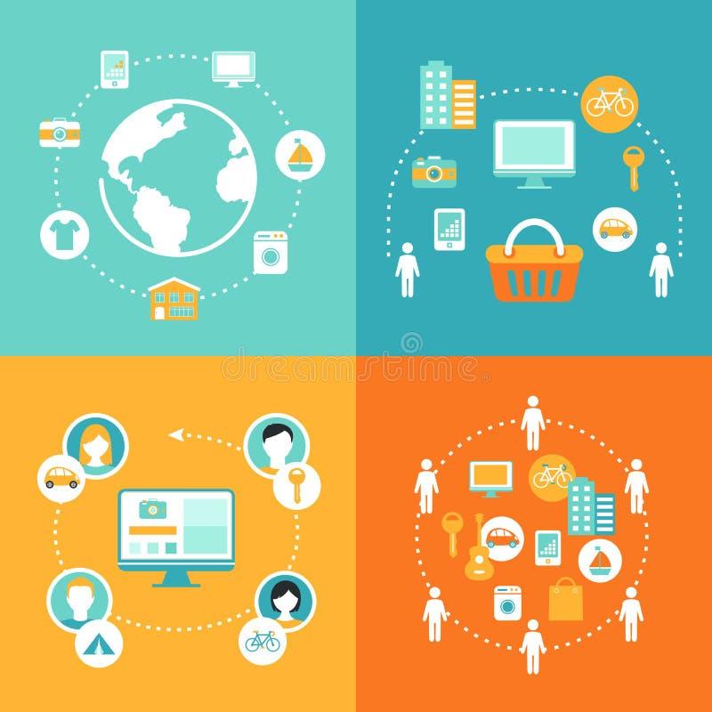 Distribución de economía y del sistema colaborativo del ejemplo del concepto del consumo ilustración del vector