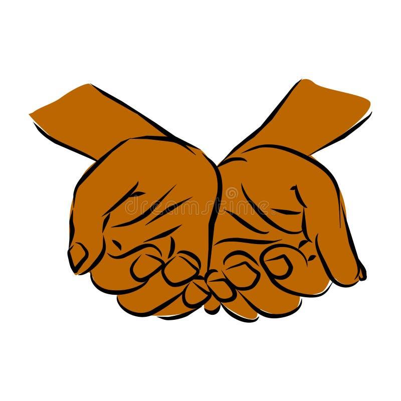 Distribución de las manos cariñosas que cuidan ilustración del vector