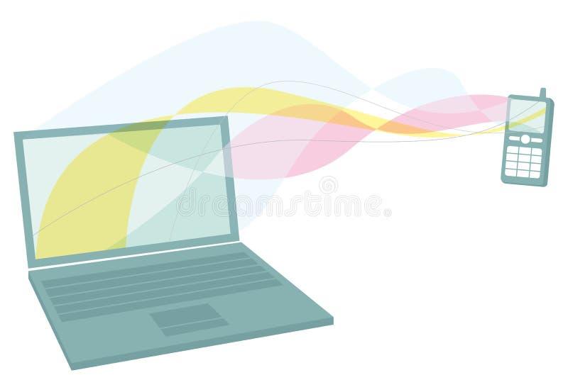 Distribución entre el teléfono móvil y el ordenador portátil ilustración del vector
