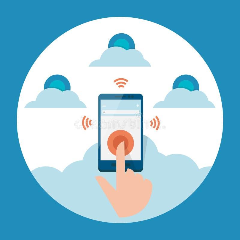 Distribución móvil a la nube. ilustración del vector