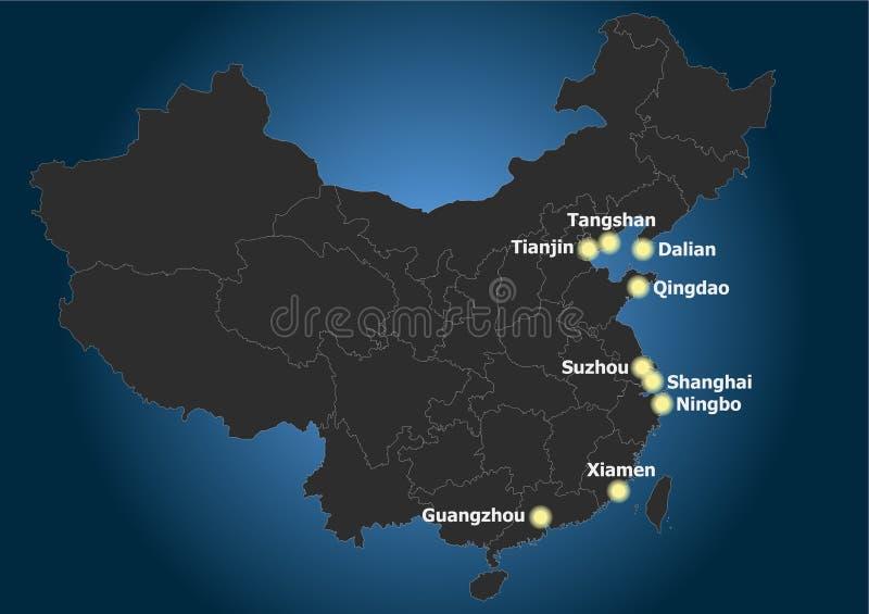 Distribución principal y posición de las ciudades portuarias de las RRPP de China libre illustration