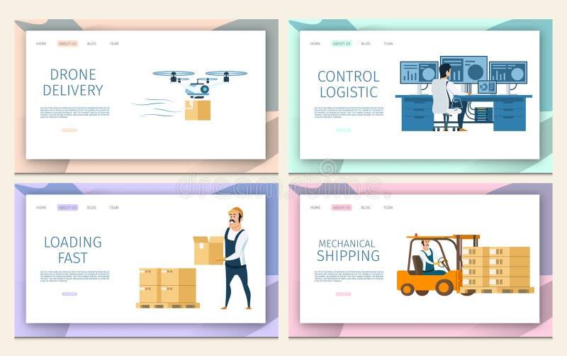 Distribuição da carga do armazém Grupo logístico do serviço ilustração do vetor
