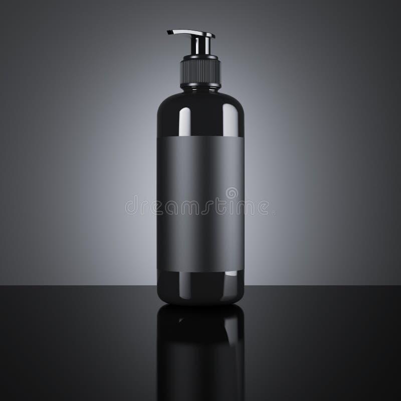 Distribuidor vazio cosmético preto rendição 3d ilustração stock