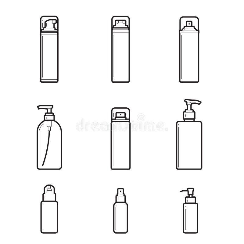 Distribuidores, batchers a lápis grupo do desenho de garrafas cosméticas no fundo branco ilustração royalty free
