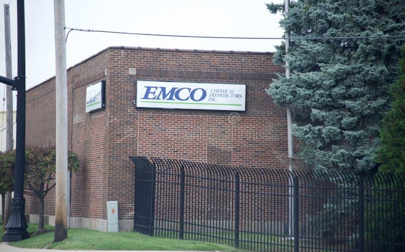Distribuidores de la sustancia química de EMCO fotografía de archivo
