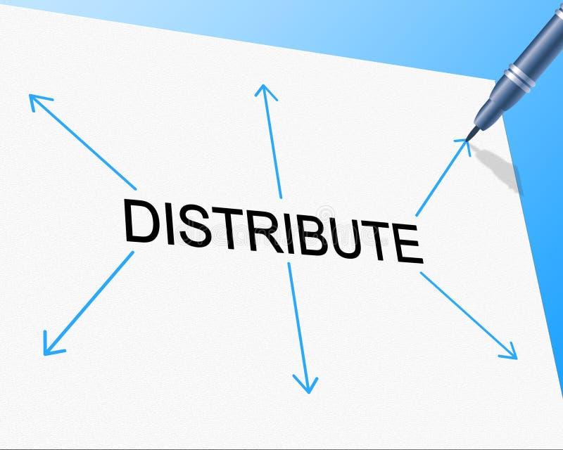 Distribuisca la distribuzione indica la catena di fornitura ed il fornitura illustrazione di stock