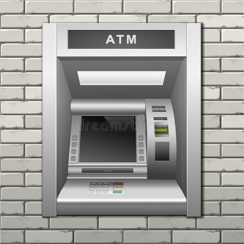 distributeur automatique de billets de banque d 39 atmosph re sur un fond de mur de briques. Black Bedroom Furniture Sets. Home Design Ideas