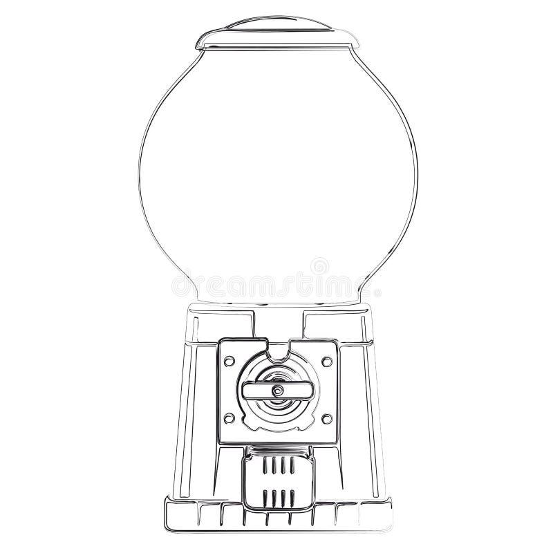 Distributeur automatique de boule de gomme illustration de vecteur illustration du levier - Font des boules de gomme ...