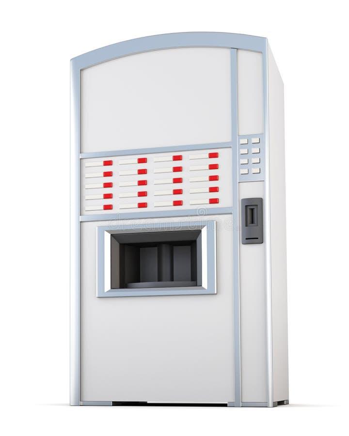 Distributeur automatique vendant des boissons et des casse-croûte sur un fond blanc illustration stock