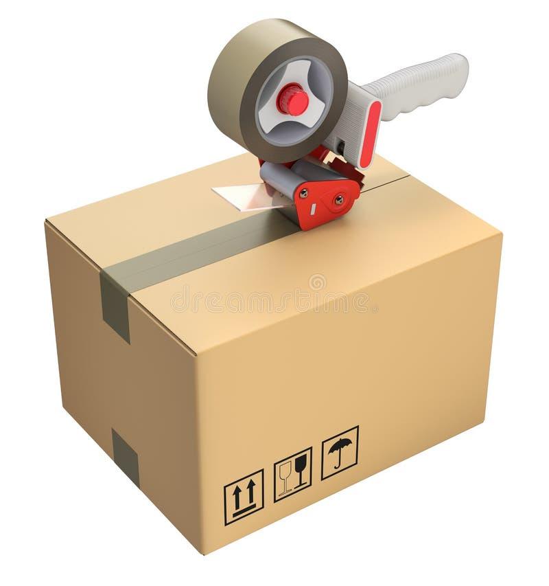 Distributeur de bande et boîte en carton de empaquetage illustration stock