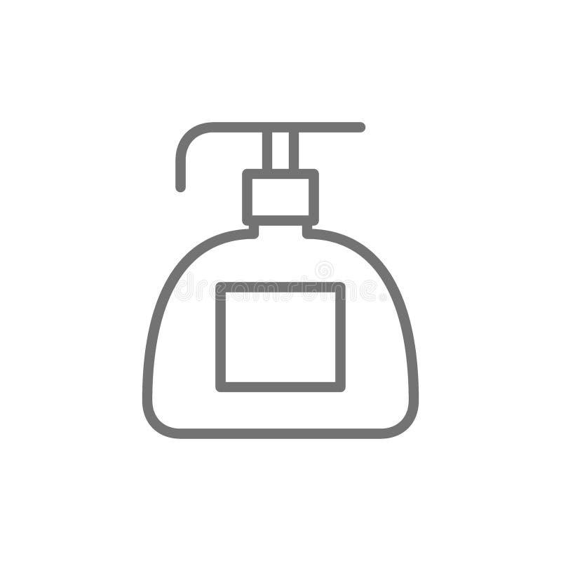 Distributeur de savon liquide, ligne en plastique cosmétique icône de bouteille illustration stock