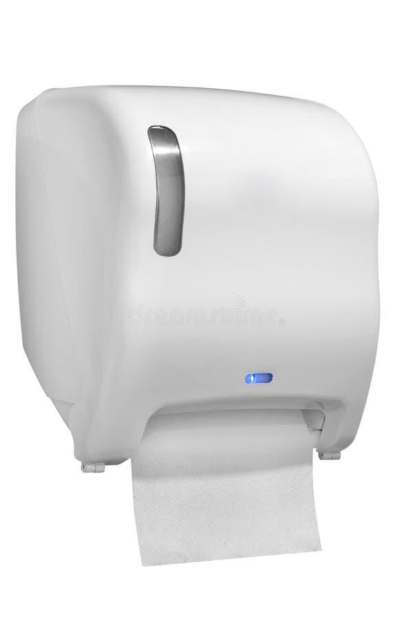 Distributeur de serviette de papier fait de plastique blanc image stock
