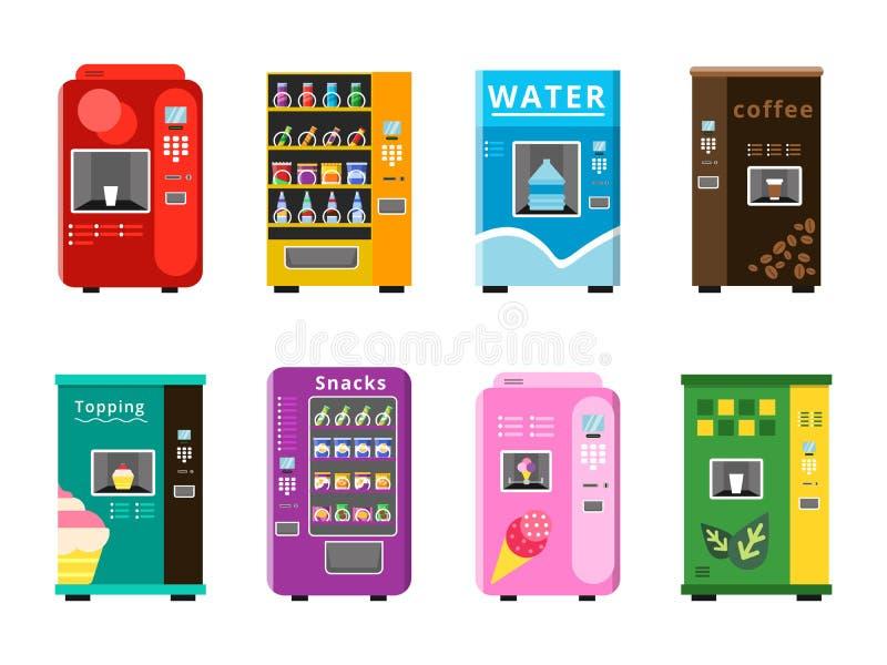 Distributeurs automatiques  Casse-croûte de vente automatiques de nourritures et illustrations plates de vecteur de crème glacée  illustration libre de droits