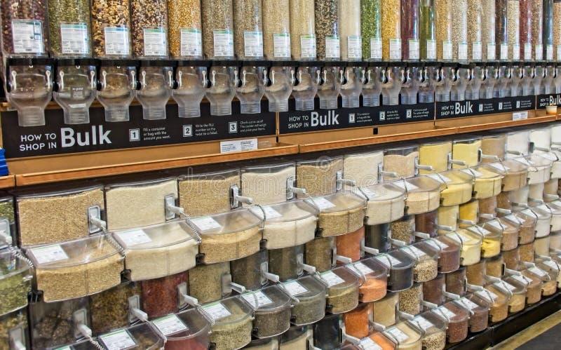 Distributeurs en vrac de nourriture images libres de droits