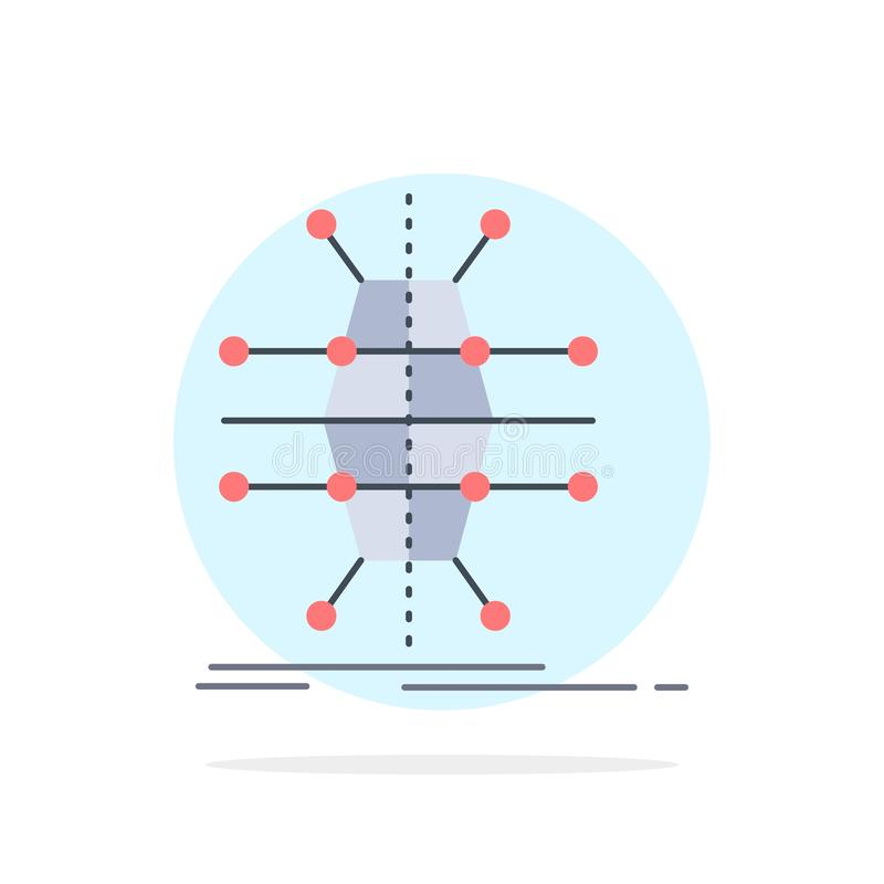 Distributie, net, infrastructuur, netwerk, de slimme Vlakke Vector van het Kleurenpictogram royalty-vrije illustratie