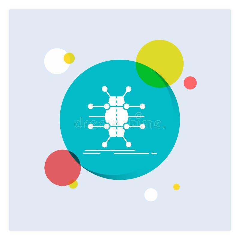 Distributie, net, infrastructuur, netwerk, de slimme Witte Glyph-Achtergrond van de Pictogram kleurrijke Cirkel stock illustratie