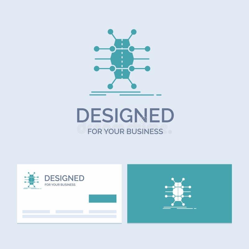 Distributie, net, infrastructuur, netwerk, slimme Zaken Logo Glyph Icon Symbol voor uw zaken Turkooise Visitekaartjes vector illustratie
