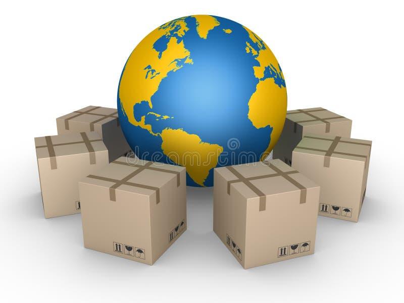 Distributie van pakketten over de hele wereld stock illustratie