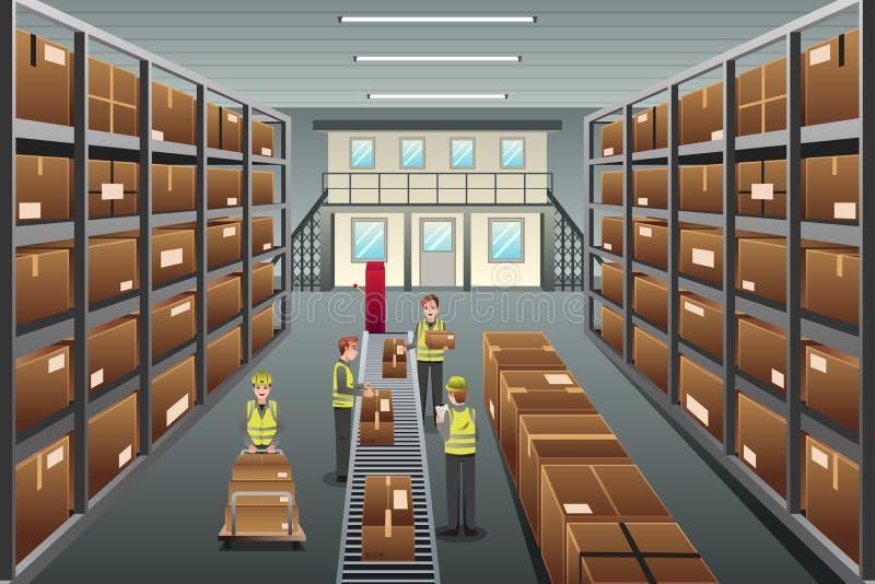 Distributiepakhuis stock illustratie