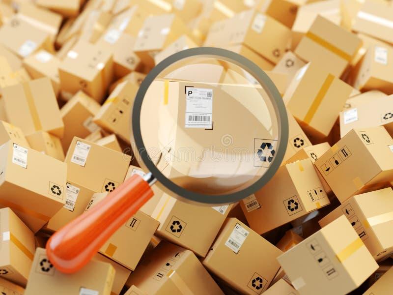 Distributiepakhuis, internationaal pakket die, globaal vrachtvervoer, het volgen concept verschepen royalty-vrije illustratie