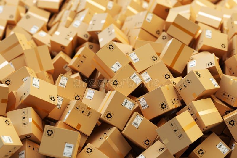 Distributiepakhuis, pakket het verschepen, vrachtvervoer, logistiek en leveringsconcept stock illustratie