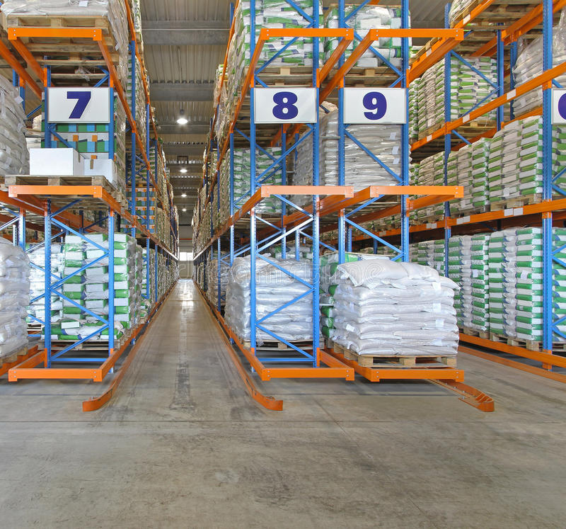 Distribution Center. Shelves With Sacks in Distribution Center Warehouse royalty free stock photo