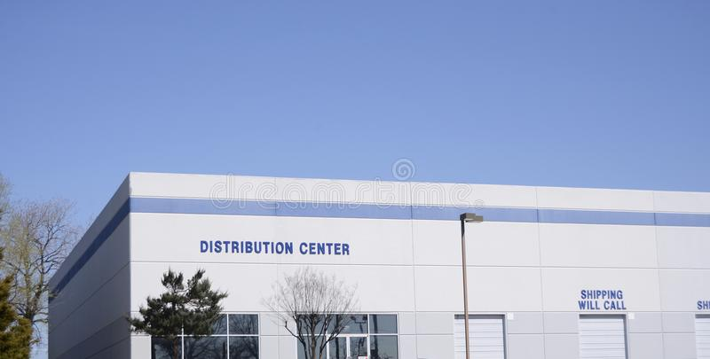 Distribution Supply Center. A distribution center is a staging area for commercial goods and products to be received and shipped to commercial and private royalty free stock images