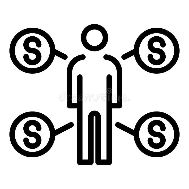 Distribution d'argent par l'icône de l'homme, style d'ensemble illustration libre de droits
